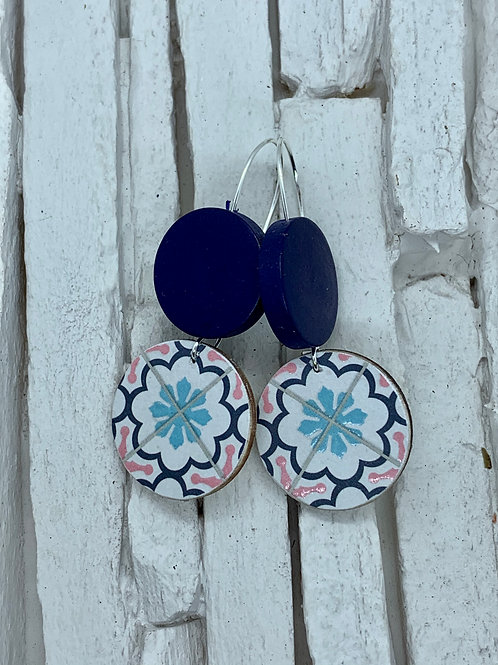 Geometric, Navy, Double Wooden Round Hanging Earring