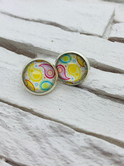 12mm Silver Stud Earrings, Blue/Yellow/Pink, Paisley