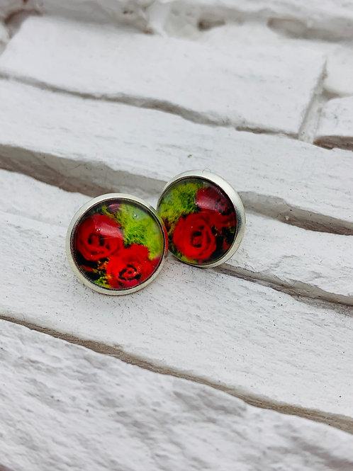 12mm Silver Stud Earrings, Green/Red Rose