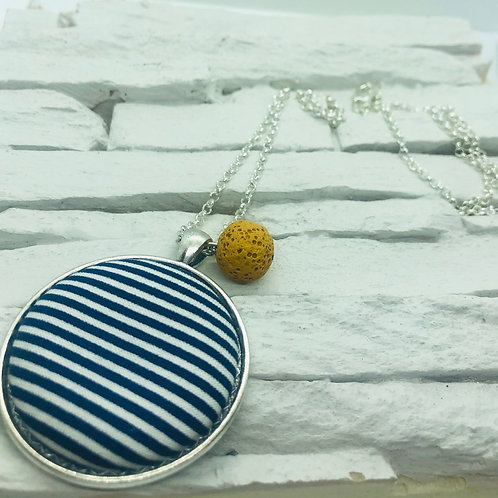 Navy Blue/White Stripe Material, Mustard Yellow Lava Bead Necklace