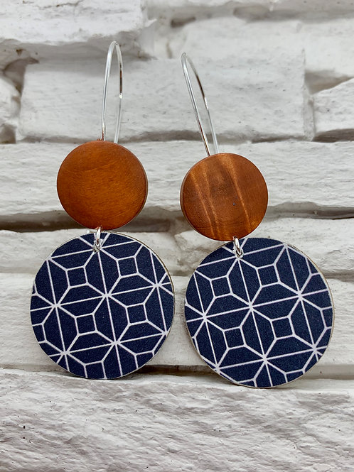 Blue/White Pattern, Saddle Brown, Double Wooden Round Hanging Earring
