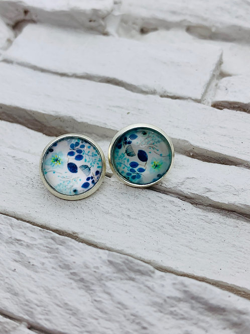 12mm Silver Stud Earrings, Blue/White Floral