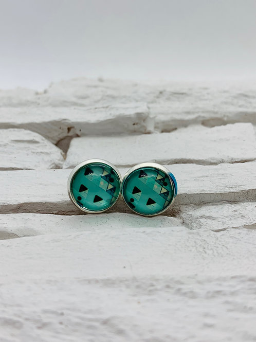 12mm Silver Stud Earrings, Aqua Triangles