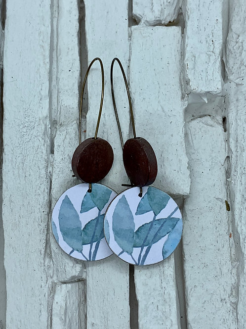 Leaf, Saddle Brown, Double Wooden Round Hanging Earring