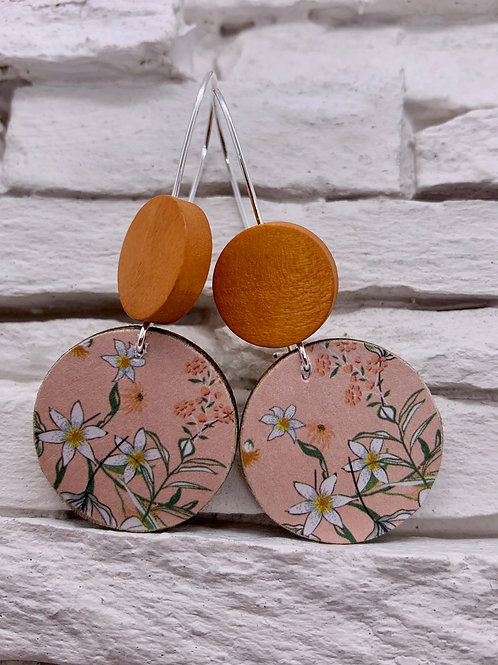 Pink Spring, Saddle Brown, Double Wooden Round Hanging Earring