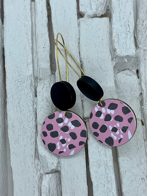 Pink Animal Print, Black, Double Wooden Round Hanging Earring