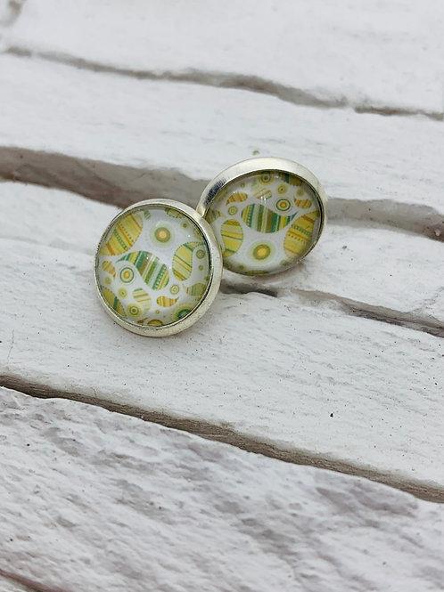 12mm Silver Stud Earrings, Green/Yellow, Paisley