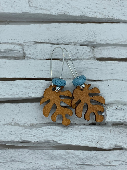 Wooden Leaf with Lava Bead Hanging Earrings