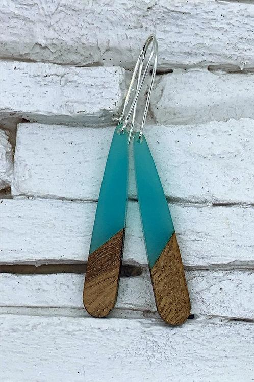 Aqua Resin & Wood Hanging Earring