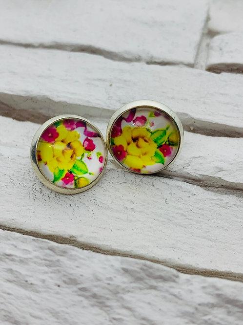 12mm Silver Stud Earrings, Yellow Rose