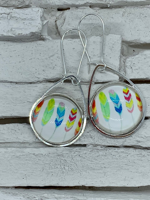 Feather, Multicolour, Silver,Pendant Drop,Hanging Earrings