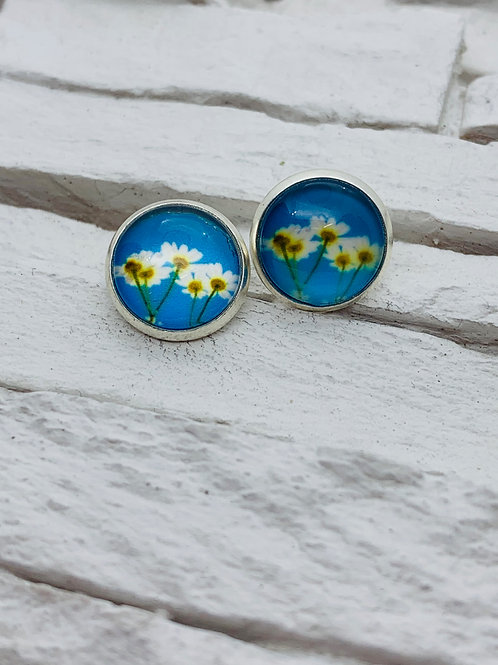 12mm Silver Stud Earrings, Daisy Daze