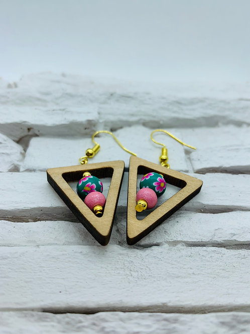 Wooden Triangle, Green & Pink Bead