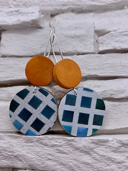 Blue Check, Saddle Brown Double Wood, Round Hanging Earrings
