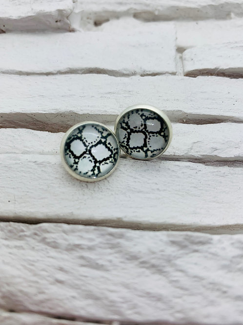 12mm Silver Stud Earrings, Black/White Snake Skin