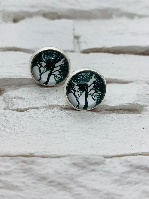 12mm Silver Stud Earrings Black/White Trees
