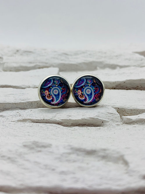 12mm Silver Stud Earrings, Purple/Blue Paisley