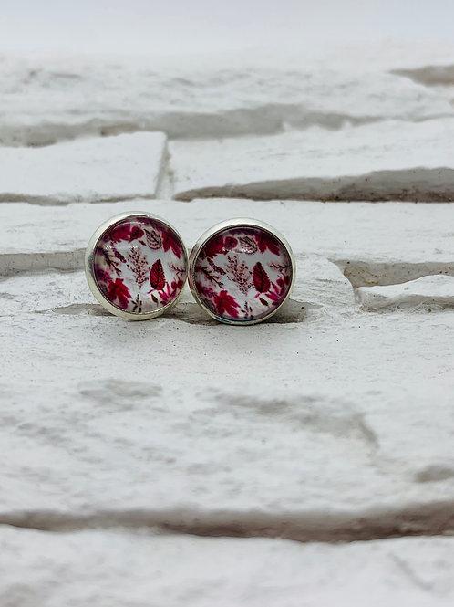 12mm Silver Stud Earrings, Red Maple Leaves