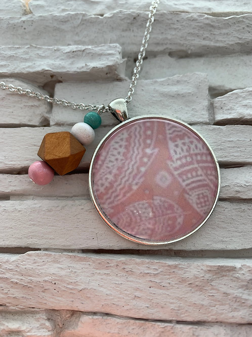 Pink Boho Pendant Necklace