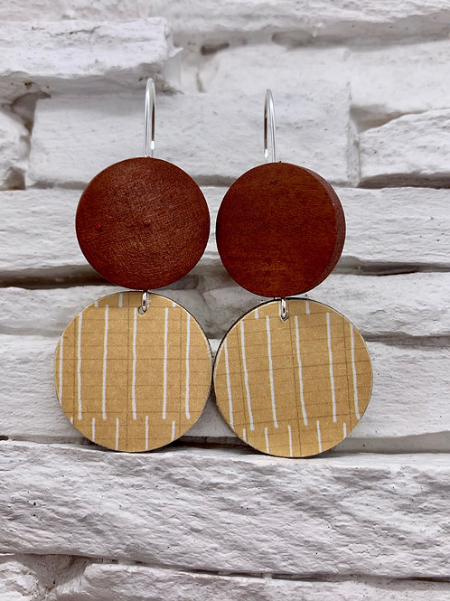 Mustard Yellow, White Stripe, Brown, Double Wooden Round Hanging Earring