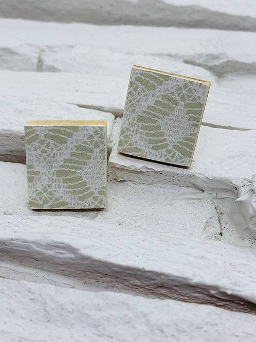 Sage Lace, Rectangle Wooden Stud