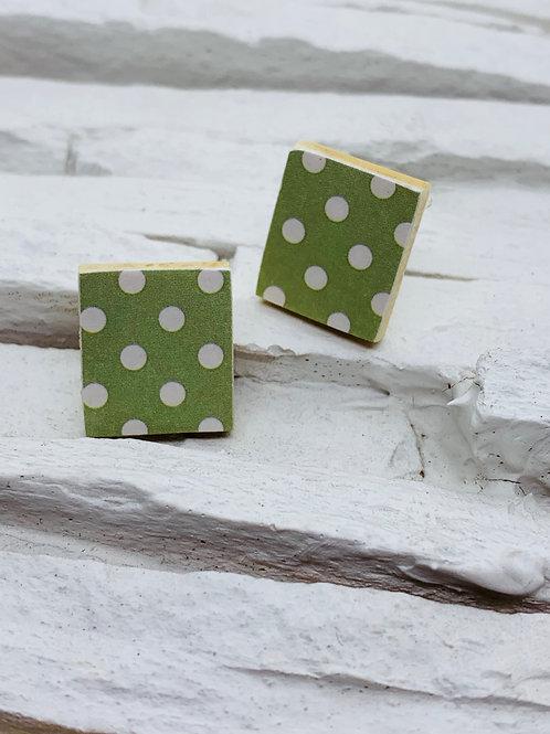 Olive Polka Dot, Rectangle Wooden Stud