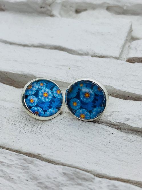 12mm Silver Stud Earrings, Blue Daisys