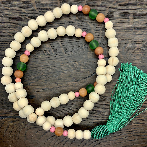 Green/Pink/Brown, Wheat, Wooden Beaded Necklace