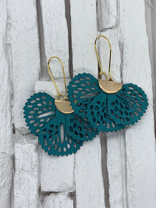 Teal Frill Hanging Earrings