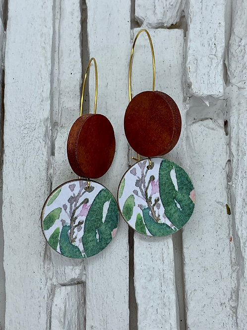 Native, Brown, Double Wooden Round Hanging Earring