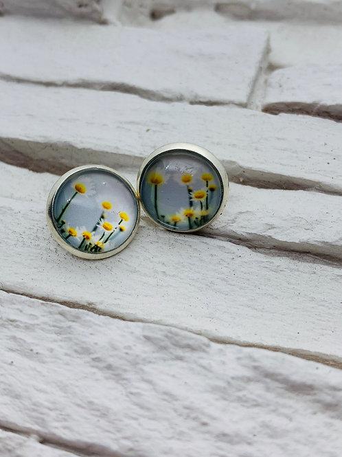 12mm Silver Stud Earrings, Sunny Daisy