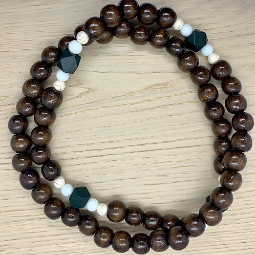 White/Green/Cream Marble, Coffee, Wooden Beaded Necklace
