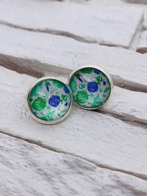 12mm Silver Stud Earrings, Green/Blue Floral