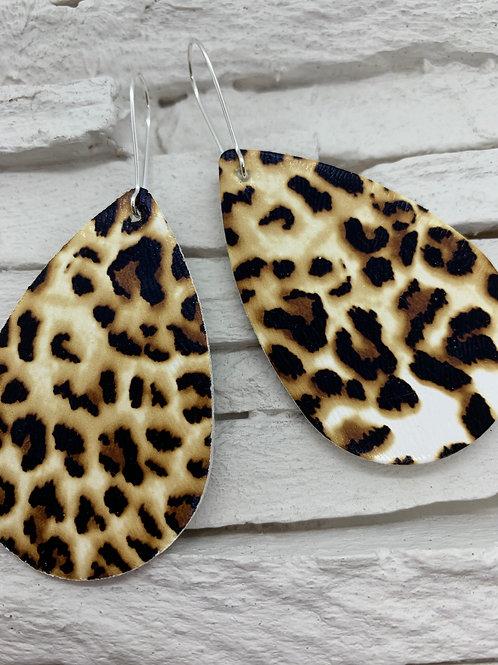 PU Leather Pendant Drop, Tan/Black/White Animal Print