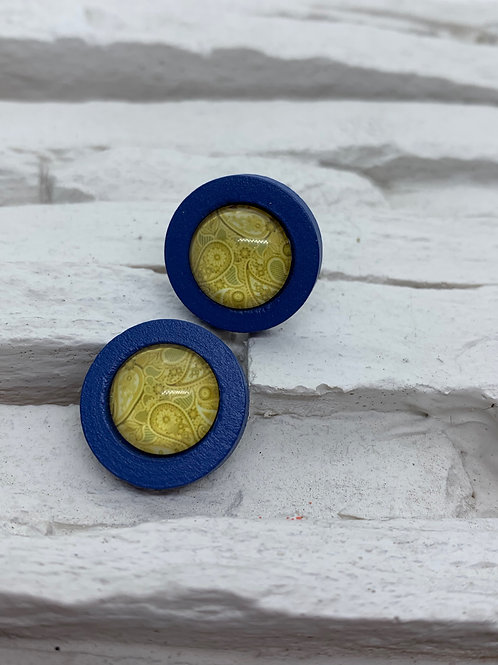 Blue Wooden, Mustard Paisley Stud, 18mm