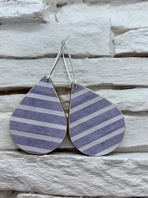 Blue/White Stripe, Wooden Drop, Hanging Earrings