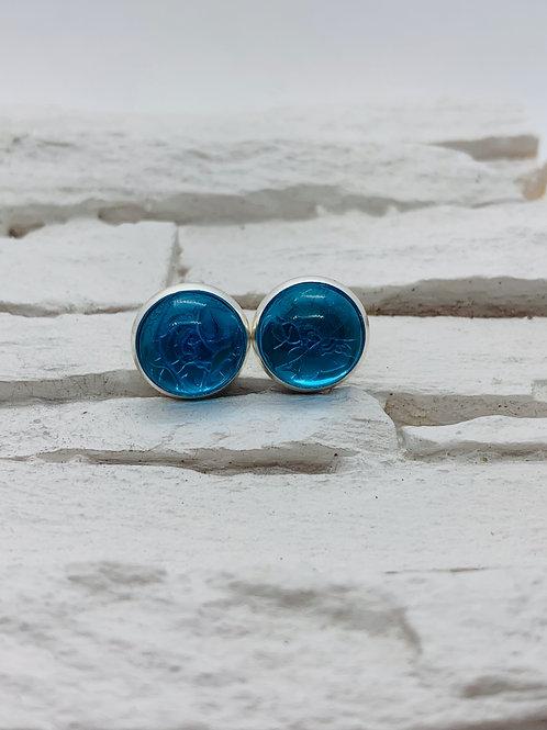 12mm Silver Stud Earrings, Light Blue Marble