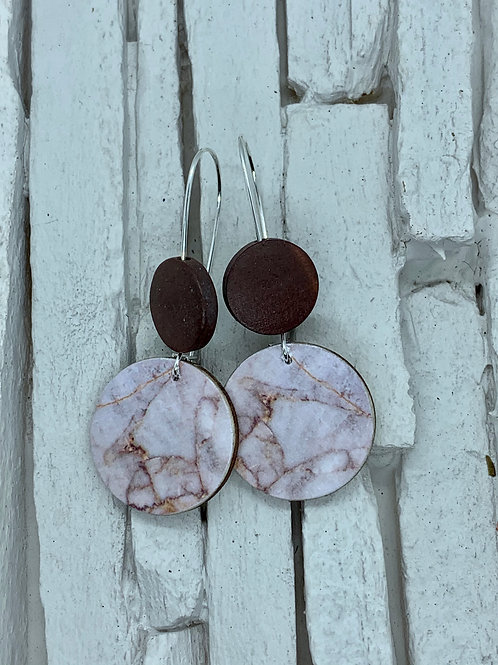 Marble Printed, Double Wooden Round Hanging Earring
