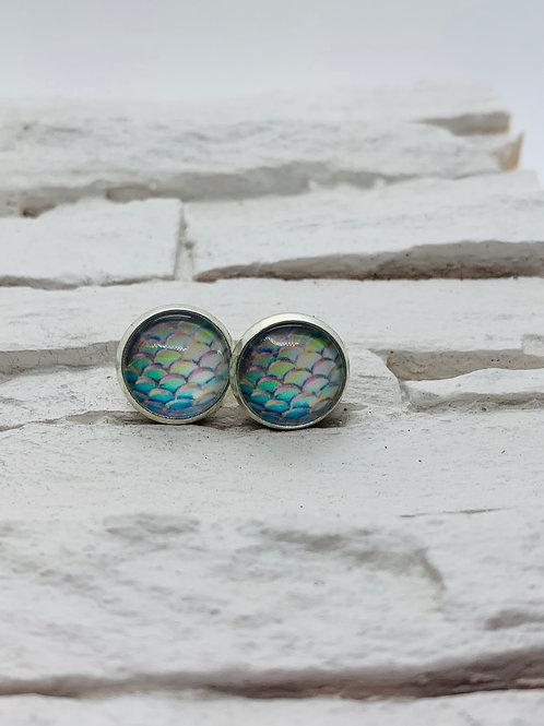 12mm Silver Stud Earrings, Light BlueMermaid