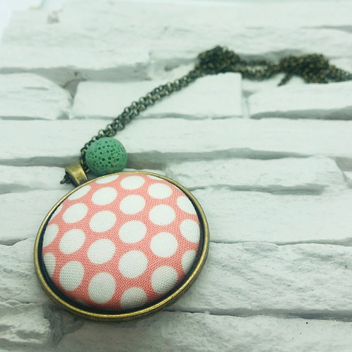 Pink/White Polka Dot Material, Green Lava Bead Necklace