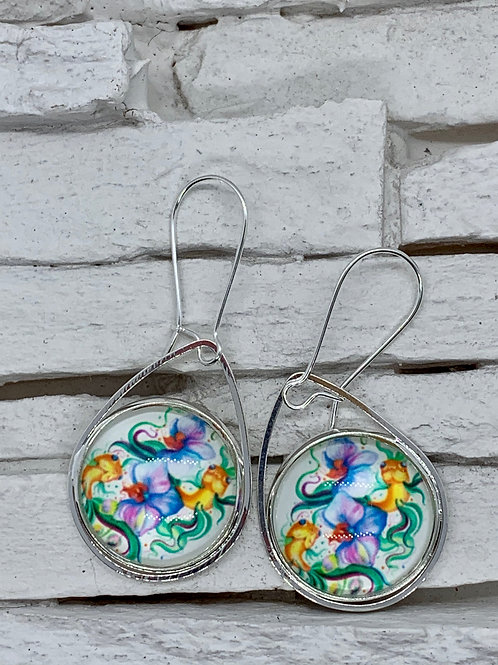 Green Coy/Flower, Silver Pendant Drop, Hanging Earrings