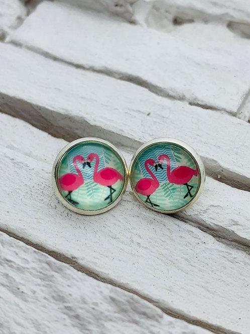 12mm Silver Stud Earrings, 2 Pink Flamingo
