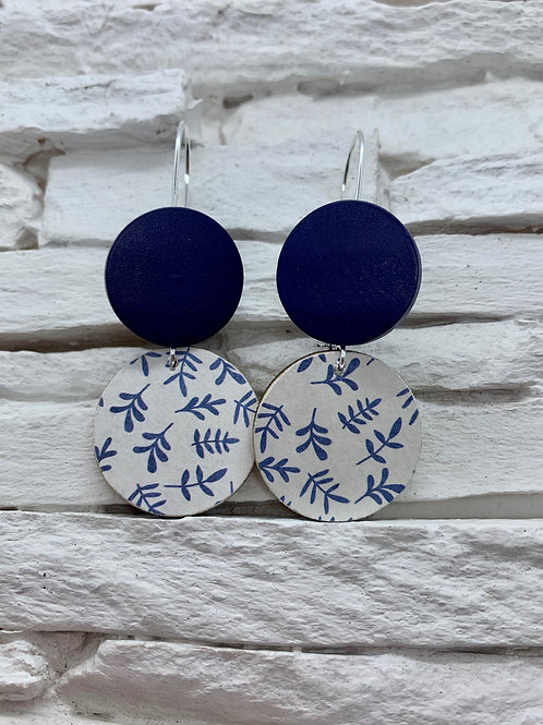 Blue/White Fern, Navy Blue, Double Wooden Round Hanging Earring