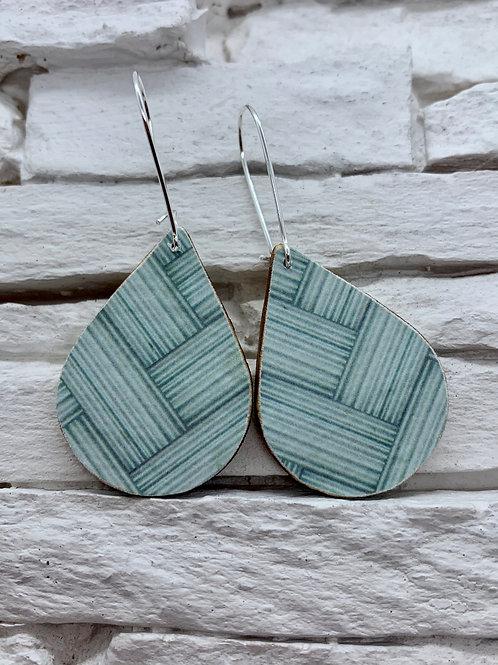 Teal Braid, Wooden Drop, Hanging Earrings