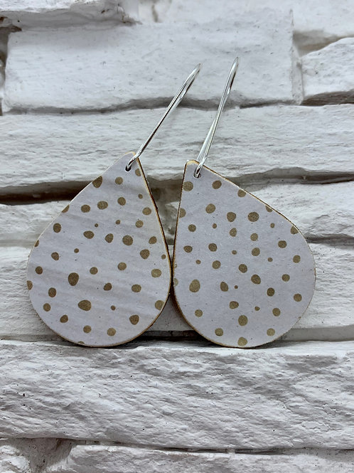 White/Tan Polka Dot,Wooden Drop, Hanging Earrings