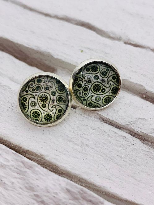 12mm Silver Stud Earrings, Black/White Paisley