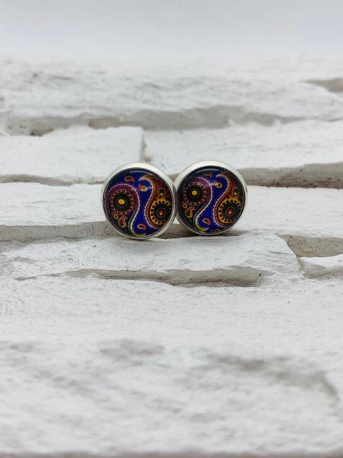 12mm Silver Stud Earrings, Purple Swirl