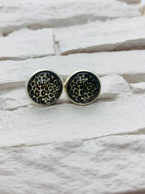 12mm Silver Stud Earrings, Leopard Print