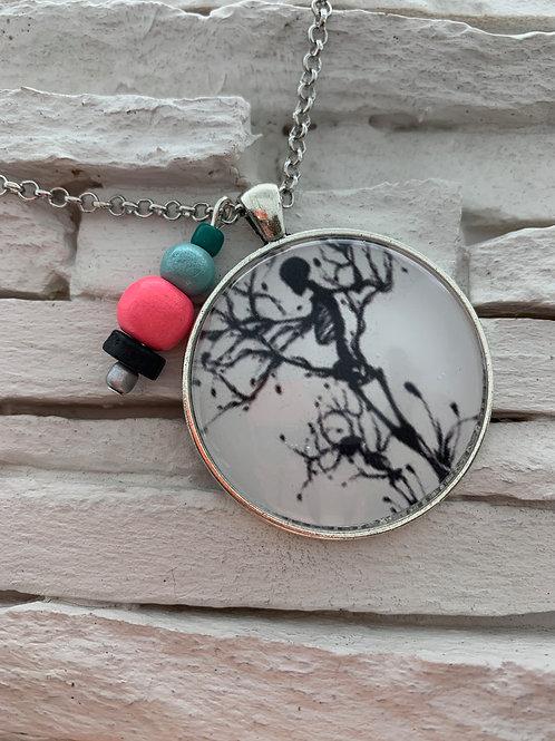 Skeleton & Tree Silhouette Pendant Necklace