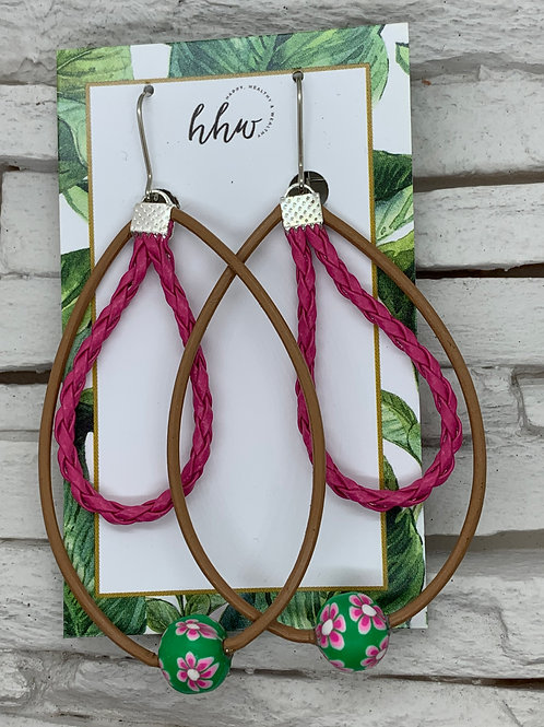 Leather Drop Hoops